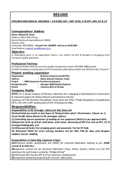 Resume Format Of Diploma Mechanical Engineer by Mechanical Engineer Resume Utah Sales Mechanical Site Engineer Lewesmr