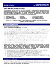 sales account manager resume templates exle digital marketing account executive resume free sle