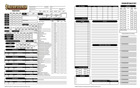 pathfinder advanced template pathfinder character sheet dicegeeks