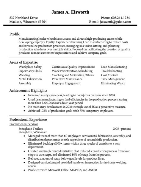 production supervisor resume sle resumes design