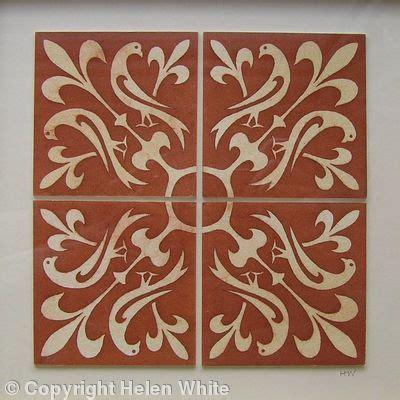 home floor designs tiles birds coloured etching