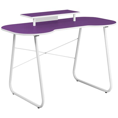 flash furniture purple computer desk with monitor stand