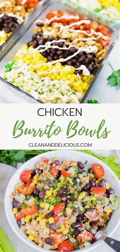Chicken Prep Burrito Meal Lunch Clean Bowls