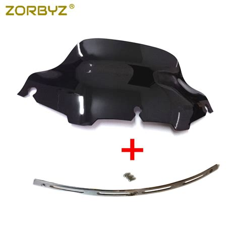 zorbyz chrome slotted stock batwing trim 8 quot black windshield windscreen fairing for harley