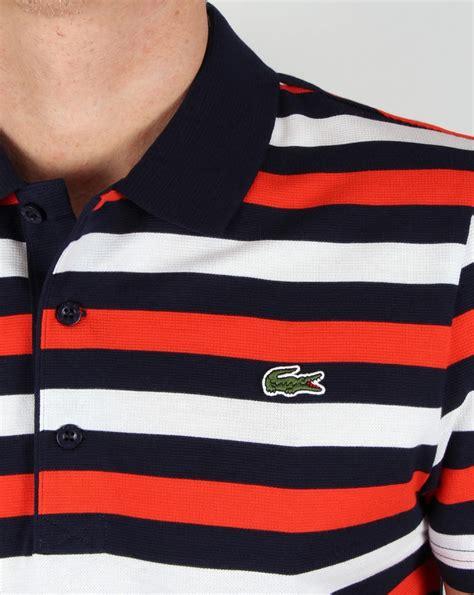 lacoste fine stripe polo shirt navyredwhitecottontopmens