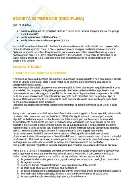 diritto commerciale dispensa societ 224 di persone appunti di diritto commerciale