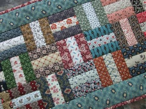 Scrappy Quilted Table Runner Rail Fence