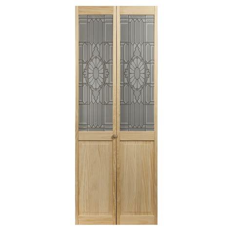 shop pinecroft  lite solid core pine bifold closet door