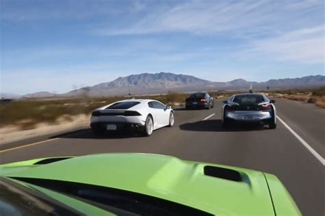 Bmw I8 Lamborghini Huracan Ford Mustang Dodge Srt Hellcat bmw i8 vs lamborghini huracan vs dodge srt hellcat vs ford