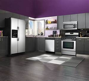 Beautiful kitchen designs in purple color enticing for Kitchen colors with white cabinets with gray and purple wall art