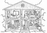 Coloring Interior Pages Edupics Parts Colouring Homes sketch template