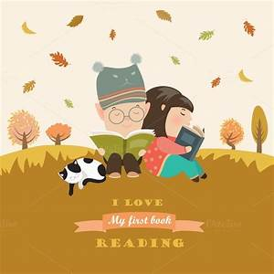 Kids reading book at autumn meadow ~ Illustrations on ...