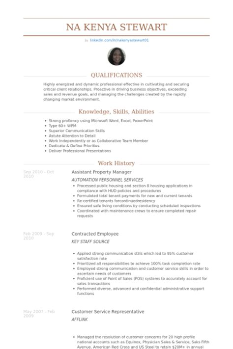 Exle Of Assistant Property Manager Resume by Assistant Property Manager Resume Sles Visualcv