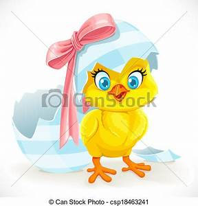 EPS Vector of Cute baby chick just hatched from an Easter ...