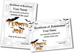 printable halloween certificates  award templates