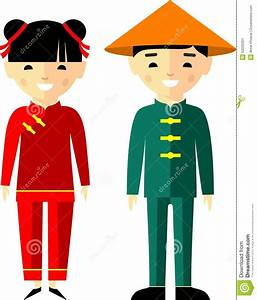 Vector Illustration Of Chinese Children, Boy, Girl, People ...