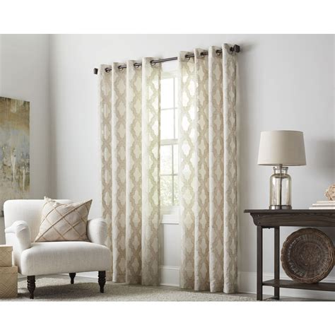 light filtering sheer curtains shop allen roth breesport 84 in oat polyester grommet