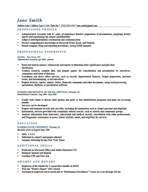 Exle Of Resume Profile by Professional Profile Resume Templates Resume Genius