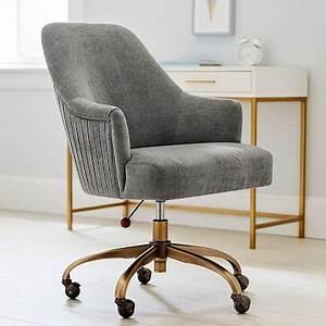 Apt Design Solutions Velvet Gray Pleated Desk Chair Desk Chair Pottery