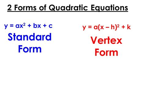 find standard form equation parabola graphing quadratic functions ppt video online download