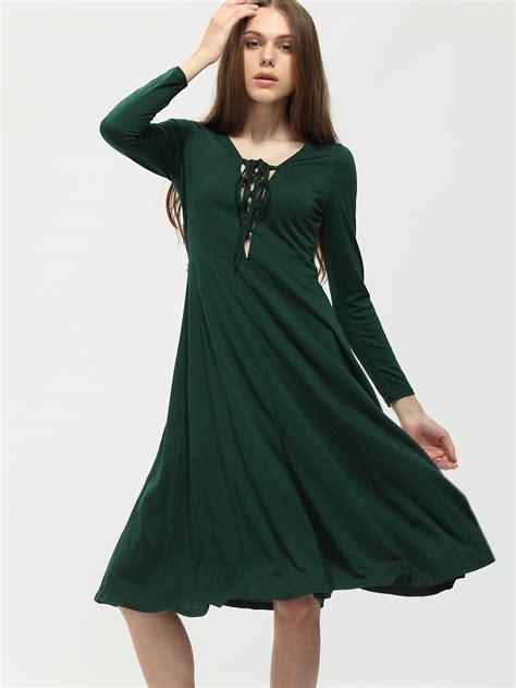 Green Lack Up Frong Midi Dress | SHEIN