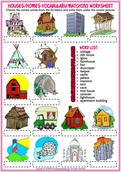 types  houses esl matching exercise worksheet  kids