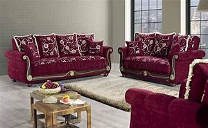 American Style Sofa Bed In Burgundy Fabric By Mobista