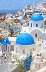 Santorini Oil Painting Painting by Antony McAulay