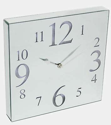 large contemporary led light up square mirrored wall clock 30cm 5024418136194 ebay