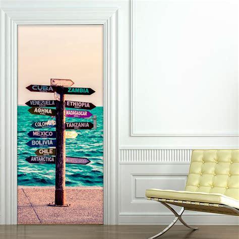 porte coulissante cuisine salon sticker porte panneau en bord de mer pays du monde 204 x