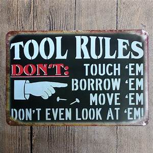 Vintage, Home, Decor, Tool, Rules, Vintage, Metal, Tin, Signs, Retro, Metal, Sign, Decor, The, Wall, Of, Cafe