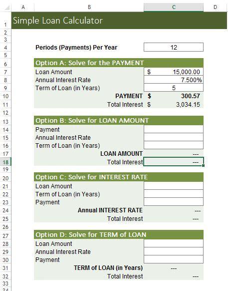 loan calculator excel template simple loan calculator excel templates for every purpose