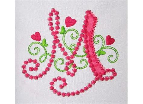 cute letter  alphabet  lil princess hearts applique embroidery design monogram initials