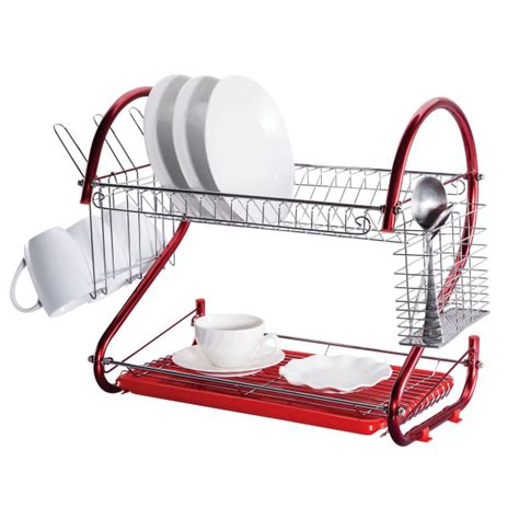 dish rack double layer red home worth