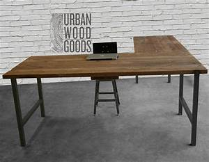 Shaped Desk Reclaimed Wood Top Square Steel Leg Fascinating L Shaped Desk Wood