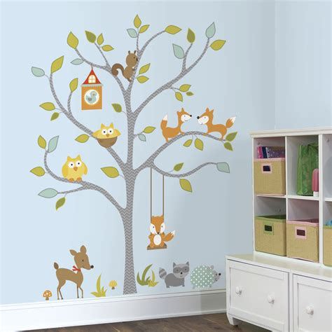 giant woodland fox owls wall decals baby forest animals
