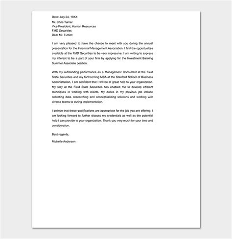 Cover Letter Investment Banking by Cover Letter Template 45 Formats Sles Exles