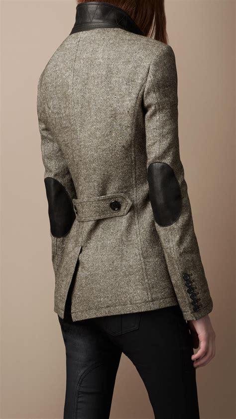 burberry brit linen blend elbow patch jacket  brown lyst