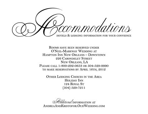 hotel accommodation cards google search wedding