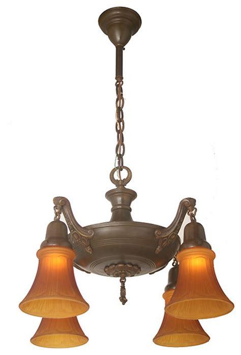 antique ceiling fixture circa 1920 four light pan
