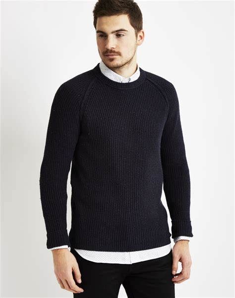 mens black sweater only sons mens knitted crew neck sweatshirt navy in blue