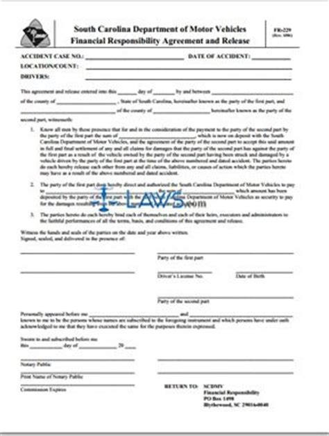 c j financial forms form fr 229 financial responsibility agreement and release