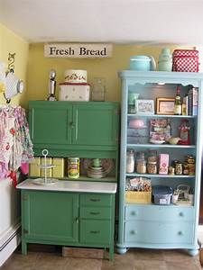 Scenic Green And Blue Vintage Kitchen Cabinet Storage Also ...