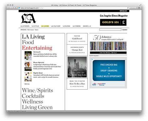 los angeles web design los angeles times magazine web on artcenter gallery