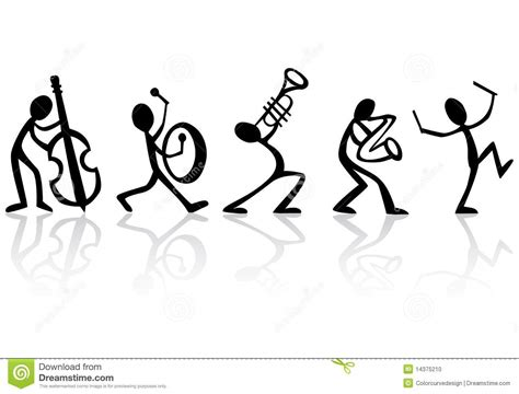 Band Musicians Playing Music Vector Illustration Stock