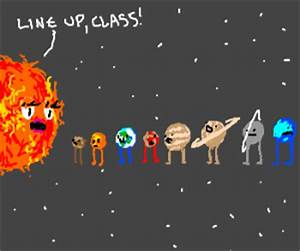 All the planets line up with the sun (drawing by V)