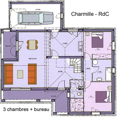 plan de maison 3 chambres salon maison avec étage avec grand salon séjour bureau 3