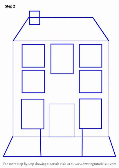 Mansion Draw Step Drawing Houses Tutorial Learn