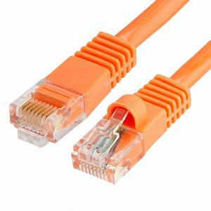 Rj45 1000 Mbps Cat 5e Ethernet Lan Network Orange Cable