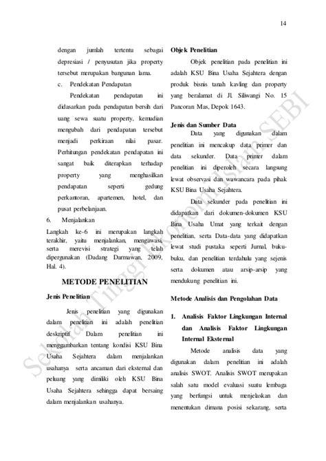 Jurnal strategi pengembangan bisnis tanah kavling pada ksu